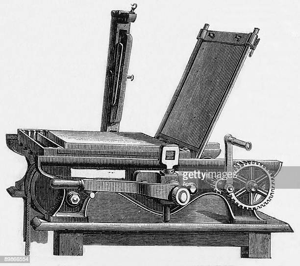 Press for impression of photolithography engraving c 1867