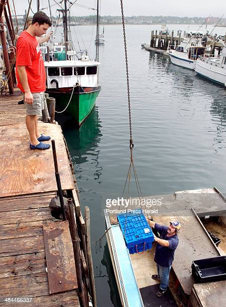 Press Herald file John Ready helps lobster fisherman Randy Wood hoist a tote of lobsters from his boat at Hobson's Wharf the current location of...