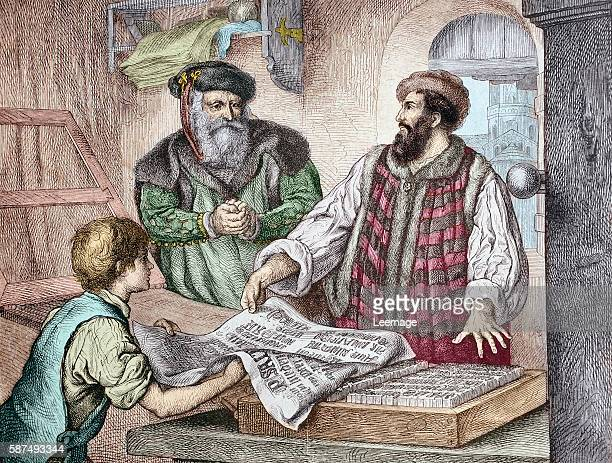 the first proof sheet from Gutenberg's press Johannes Gensfleisch Gutenberg represented with Johann Fust 1453 Handcolored woodcut of a 19th century...