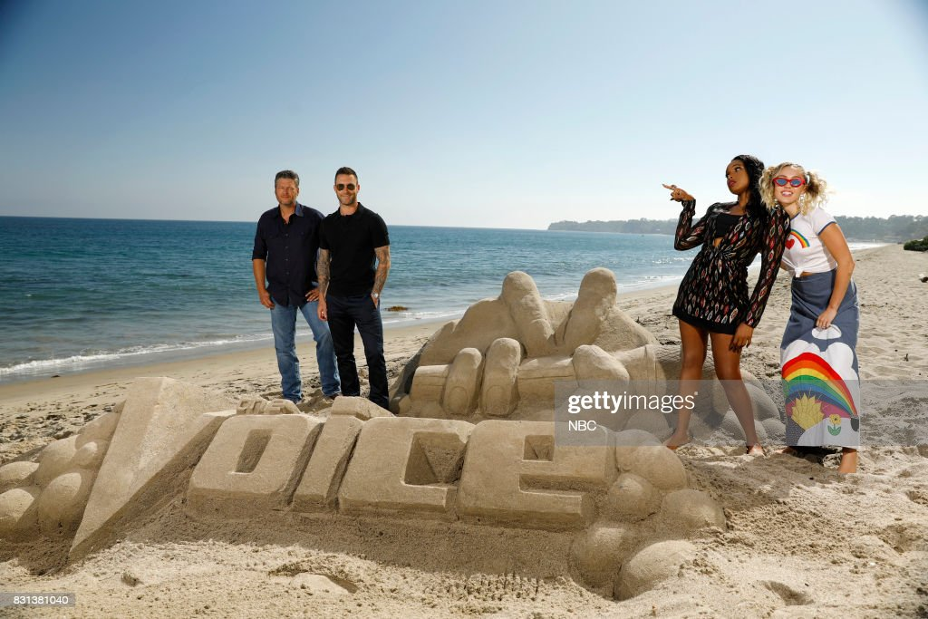 THE VOICE -- 'Press Junket' -- Coaches Blake Shelton, Adam Levine, Jennifer Hudson and Miley Cyrus bond and enjoy a day at the beach on a picturesque Southern California afternoon before the competition between them begins. NBC'?s three-time Emmy Award-winning series ?The Voice? returns for its 13th season on Monday, Sept. 25 (8-10 p.m. ET/PT) --