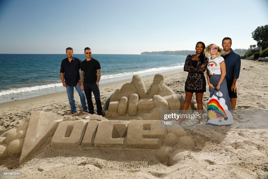THE VOICE -- 'Press Junket' -- Coaches Blake Shelton, Adam Levine, Jennifer Hudson, Miley Cyrus and host Carson Daly bond and enjoy a day at the beach on a picturesque Southern California afternoon. NBC's three-time Emmy Award-winning series ?The Voice? returns for its 13th season on Monday, Sept. 25 (8-10 p.m. ET/PT) --