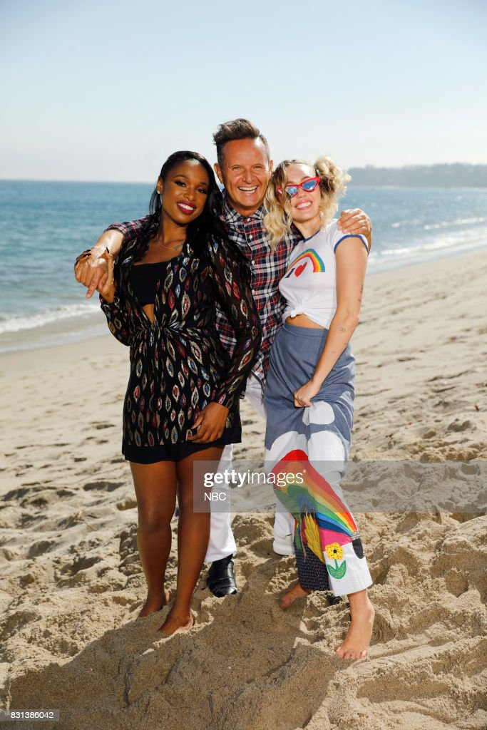 THE VOICE -- 'Press Junket' -- First-time coach Jennifer Hudson and returning coach Miley Cyrus flank executive producer Mark Burnett on the shores of the Pacific Ocean as the trio gear up for the 13th season of ?The Voice.? The three-time Emmy Award-winning series premieres on Monday, Sept. 25 (8-10 p.m. ET/PT) --