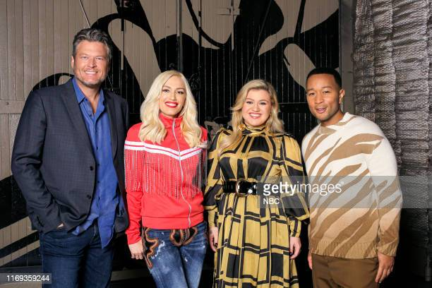 THE VOICE Press Junket Pictured Blake Shelton Gwen Stefani Kelly Clarkson John Legend