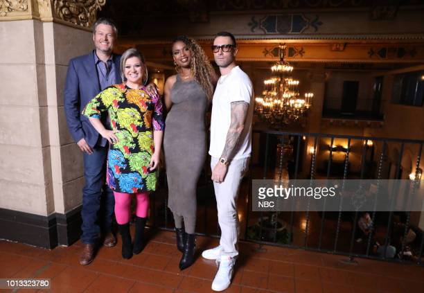 THE VOICE Press Junket Pictured Blake Shelton Kelly Clarkson Jennifer Hudson Adam Levine at the Hollywood Roosevelt Hotel Hollywood Ca on August 7...