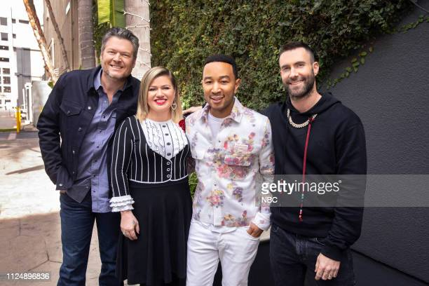 "Press Junket"" -- Pictured: Blake Shelton, Kelly Clarkson, John Legend, Adam Levine at Universal Studios, Hollywood, Ca. On February 12, 2019 --"