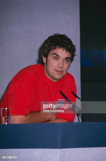 Press launch for Robbie Williams' solo single 'Freedom' at Royal Lancaster Hotel Bayswater London 1996