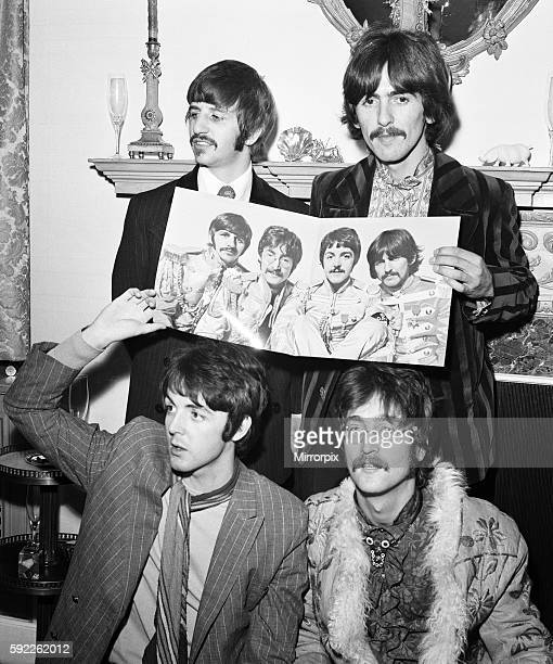 Press launch of 'Sergeant Pepper's Lonely Hearts Club Band' at Brian Epstein's house at 24 Chapel St Belgravia London 19 May 1967 Back row left to...