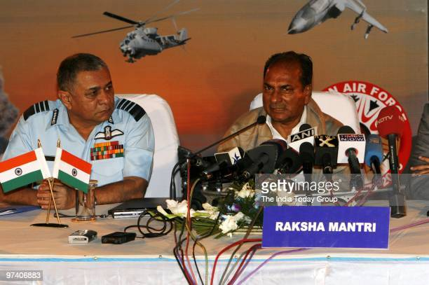 Press meet by Defence minister A K Antony and Air Chief after fire power demonstration Vayu Shakti 2010 at Air Force field firing range in Pokhran