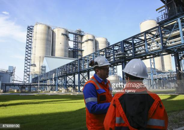 Press members are seen on a press tour at RWE AG Eemshaven Power Plant in Groningen the Netherlands on November 26 2017 As the one of Europe's most...