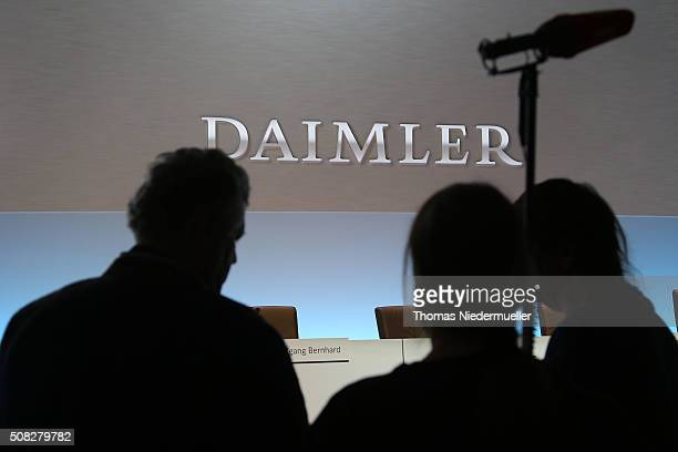 Press members are waiting for Dieter Zetsche CEO of Daimler prior Daimler AG annual press conference on February 4 2016 in Stuttgart Germany The...