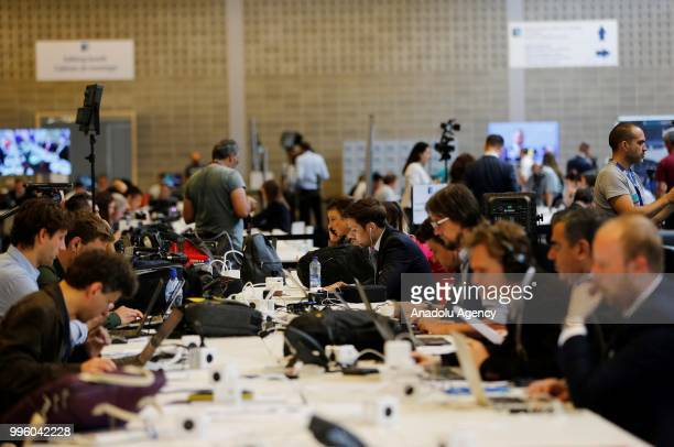 Press members from all over follow the 2018 NATO Summit at NATO headquarters on July 11 2018 in Brussels Belgium Leaders from NATO member and partner...