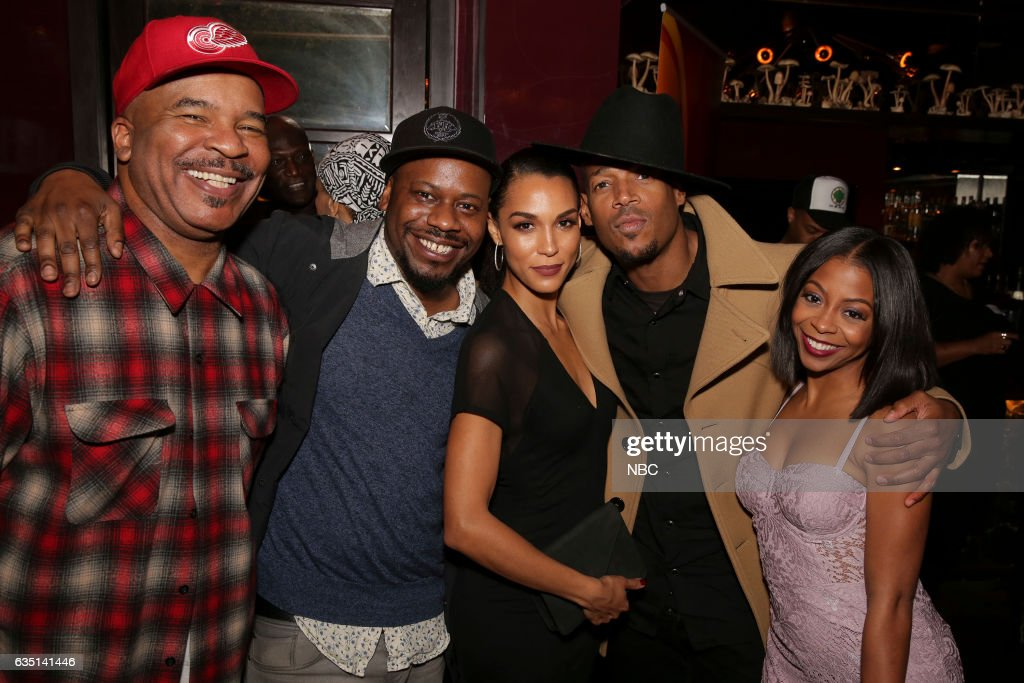 Press Mingle at Estrella, West Hollywood -- Pictured: (l-r) David Alan Grier, 'The Carmichael Show', Malcolm Barrett, 'Timeless', Brooklyn Sudano, 'Taken'; Marlon Wayans, 'Marlon', Bresha Webb, 'Marlon' --