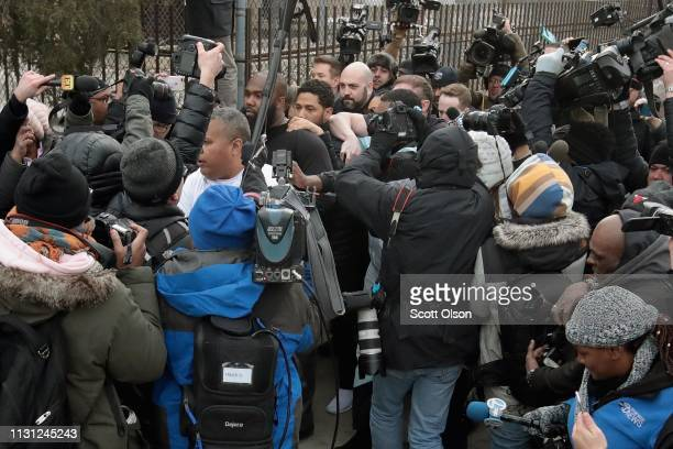 Press mob Empire actor Jussie Smollett as he leaves Cook County jail after posting bond on February 21 2019 in Chicago Illinois Smollett has been...