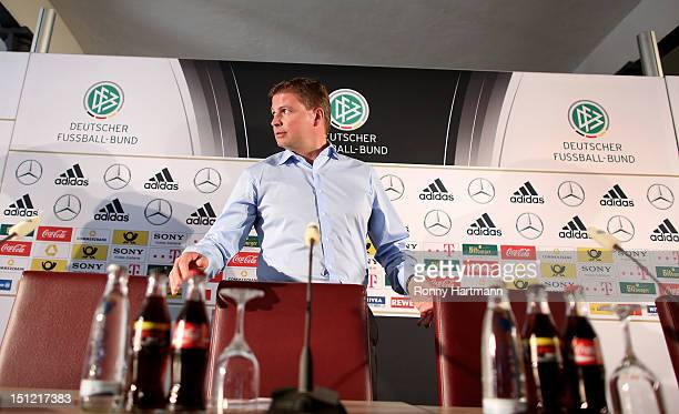 Press officer Jens Grittner attends a press conference on September 04, 2012 in Barsinghausen, Germany, three days before their FIFA World Cup Brazil...