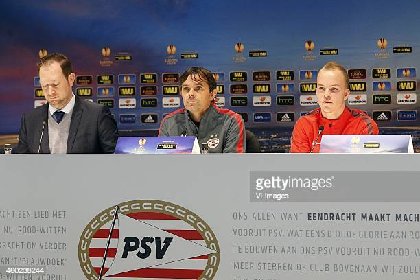 Press officer Jeroen van den Berk of PSV Coach Phillip Cocu of PSV Jorrit Hendrix of PSV during the press conference of PSV prior to the UEFA Europa...