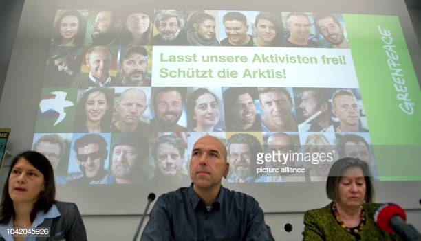 Press officer of nongovernmental environmental organization Greenpeace Maike Christiansen Greenpeace expert Oliver Sage and chairwoman of Greenpeace...