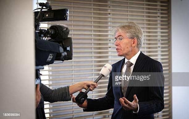 Press Officer Pieter van Rest of the North Netherlands region speaks to te press in Groningen The Netherlands on October 9 about the arrest of Frank...