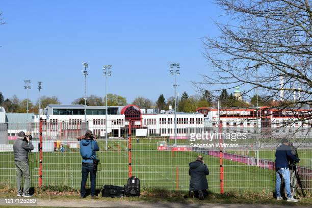 Press photographers take pictures during a training session at Saebener Strasse training ground on April 06 2020 in Munich Germany