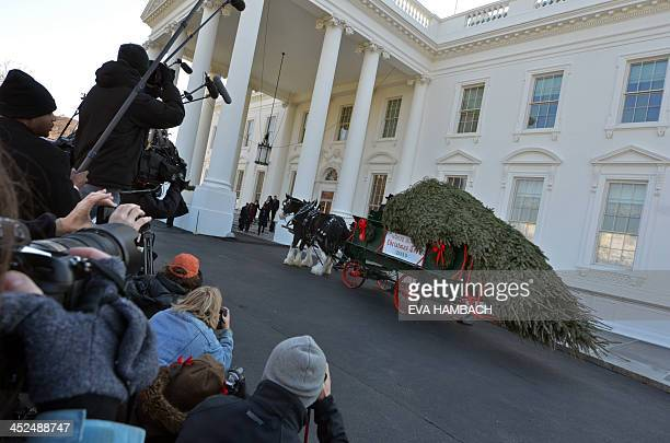 Press photographers take pictures of First Lady Michelle Obama arriving with daughters Malia and Sasha and their two dogs Bo and Sunny as they...