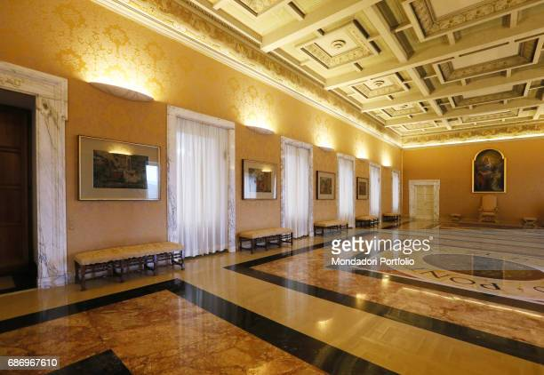 Press preview for the international journalists before the Pope's Apartments in the Apostolic Palace open to the public The Hall of the Swiss Guards...