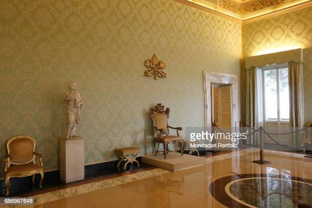 Press preview for the international journalists before the Pope's Apartments in the Apostolic Palace open to the public The Throne Room Castel...