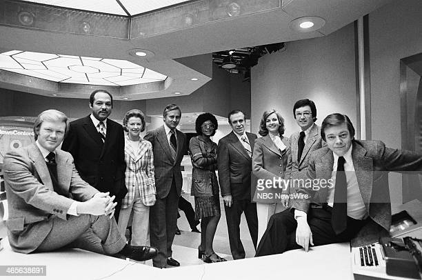"""Press Preview"""" -- Pictured: NBC News' Chuck Scarborough, Carl B. Stokes, Betty Furness, Dick Schaap, Norma Quarles, unknown, unknown, Tim Ryan, Jim..."""