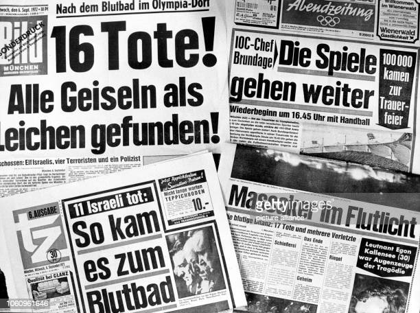 A press review from 6 September 1972 of the terrorist attack during the Summer Olympics in Munich Arabian terrorists of the group 'Black September'...