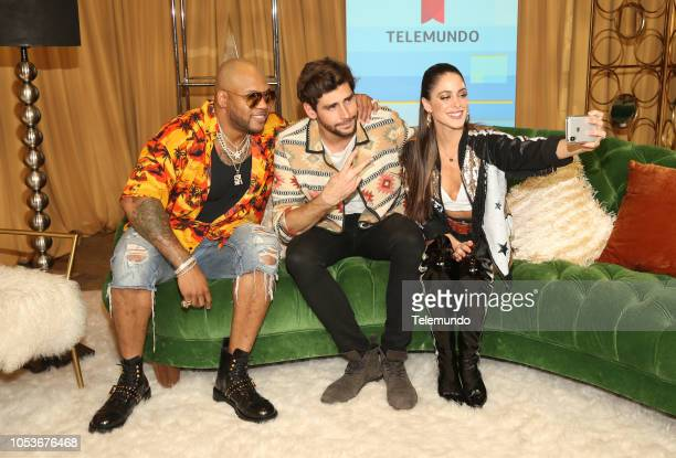 AWARDS 'Press Room' Pictured Flo Rida Alvaro Soler and Tini Stoessel at the Dolby Theatre in Hollywood CA on October 25 2018