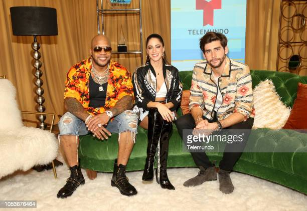 AWARDS 'Press Room' Pictured Flo Rida Tini Stoessel and Alvaro Soler at the Dolby Theatre in Hollywood CA on October 25 2018