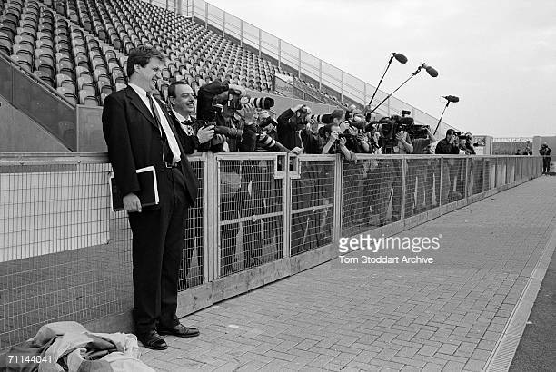 Press secretary Alastair Campbell at a stadium with members of the press during Blair's successful 1997 General Election campaign to become Britain's...
