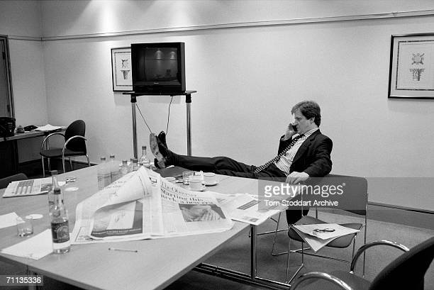 Press secretary Alastair Campbell at work three days before the election during Tony Blair's successful 1997 General Election campaign to become...