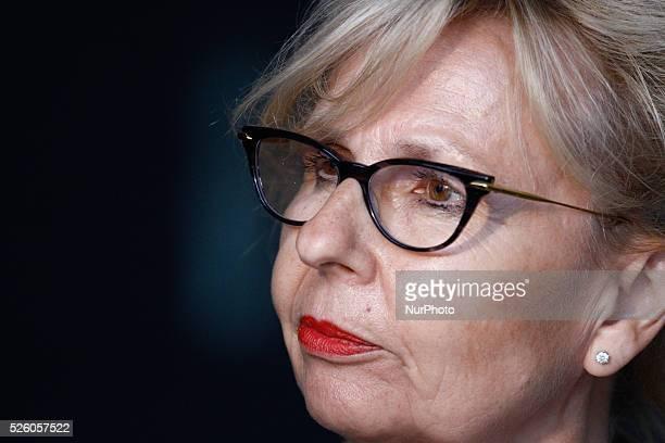 DEN HAAG Press Secretary for the judges Yolande Wijnnobel is seen speaking to the press The Hague Netherlands on July 13 2015 In several speedtrials...