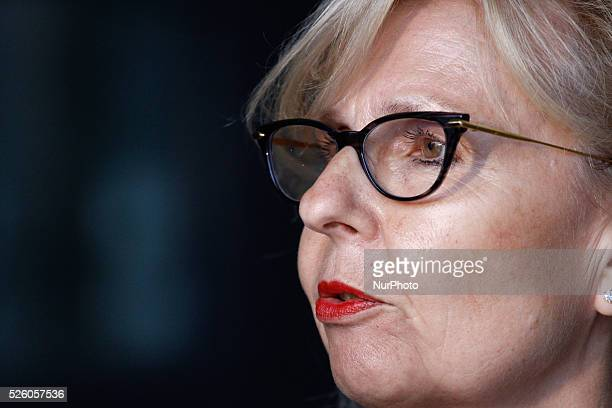 DEN HAAG Press Secretary for the judges Yolande Wijnnobel is seen speaking to the press in The Hague Netherlands on July 13 2015 In several...