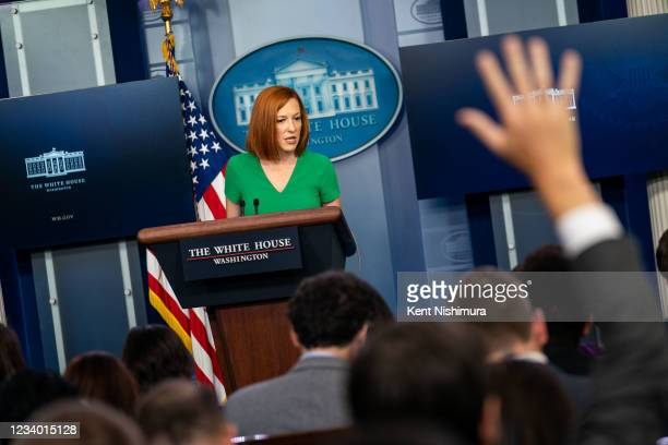 Press Secretary Jen Psaki speaks during the daily press briefing in the Brady Briefing Room of the White House on Friday, July 16, 2021.