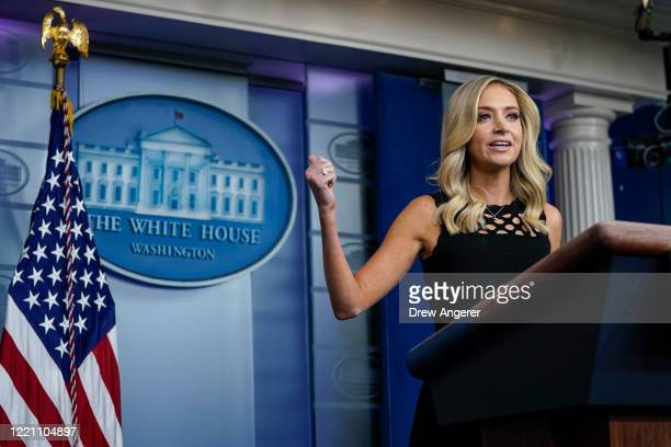 Press Secretary Kayleigh McEnany speaks during a press briefing at the White House on June 19, 2020 in Washington, DC. President Trump will travel to...
