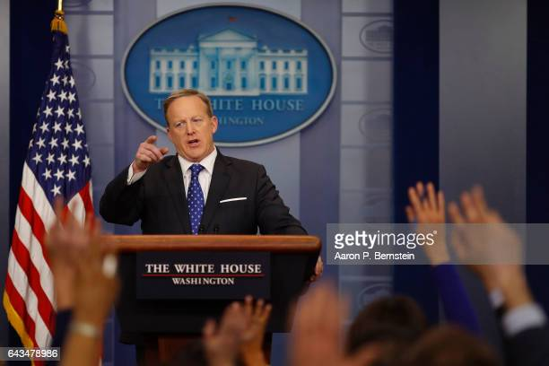 Press Secretary Sean Spicer holds the daily press briefing at the White House February 21 2017 in Washington DC Spicer took questions about President...