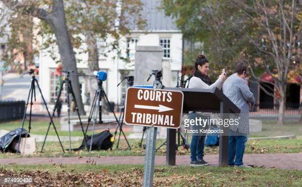 Press set up outside the Loudoun County Courthouse on November 16 2017 in Leesburg Virginia McGowan is in court to be arraigned for felony possession...