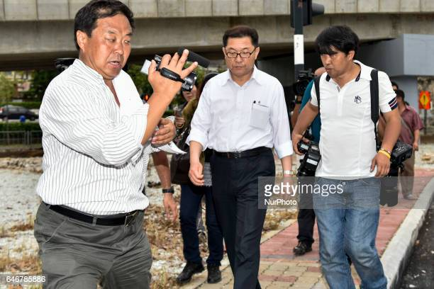 Press try to have an interview with unidentified North Korean man at outside of the North Korea embassy on March 01 2017 in Kuala Lumpur Malaysia