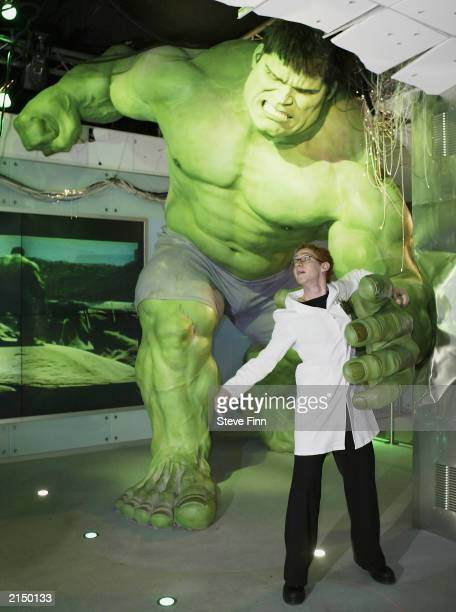 Press unveiling of the interactive Incredible Hulk at Madame Tussauds on July 10 2003 in London England