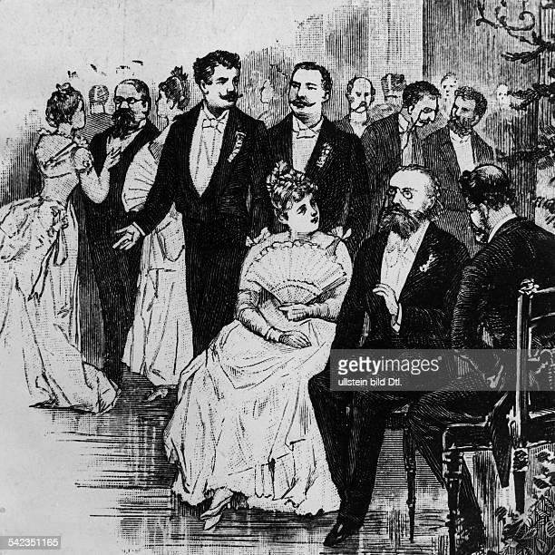 Presseball 1889 links Herbert Bismarck oben Mitte Paul Lindau davor sitzend Ernst WichertZeichnung