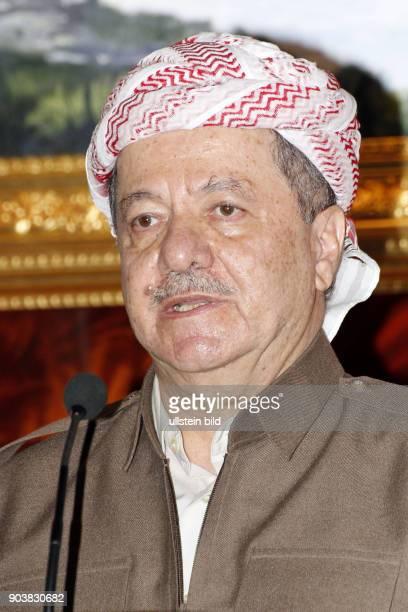Pressekonferenz von Masoud Barzani anlässlich des Besuchs des französischen Präsidenten in erbil