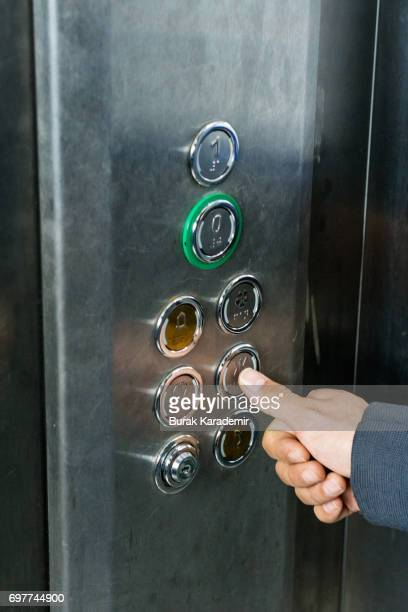 Pressing the button in the elevator