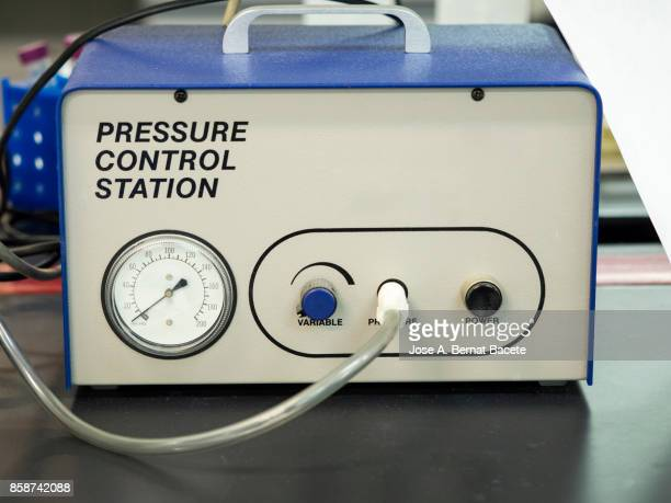 pressure control station in a laboratory of molecular biology. spain - pressure gauge stock photos and pictures