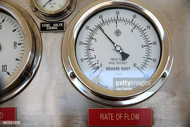 A pressure gauge is seen at the Miami Dade County Water Systems treatment plant as the department prepares for any problems on Super bowl Sunday if...