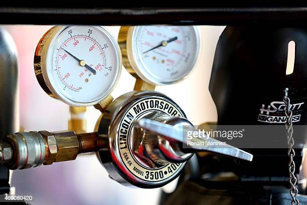 A pressure gauge is seen in the garage during practice for the NASCAR XFINITY Series O'Reilly Auto Parts 300 at Texas Motor Speedway on April 9 2015...
