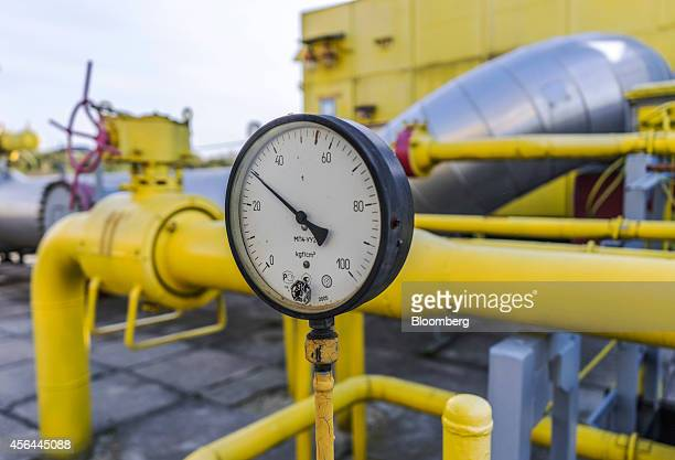 A pressure gauge reads at 30 as it sits on gas pipes at the Opary underground gas storage facility operated by UkrTransGaz a unit of NAK Naftogaz...
