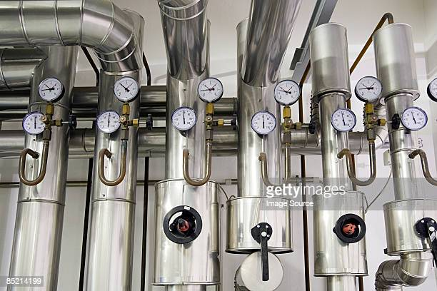 pressure gauges in a factory - pressure gauge stock photos and pictures