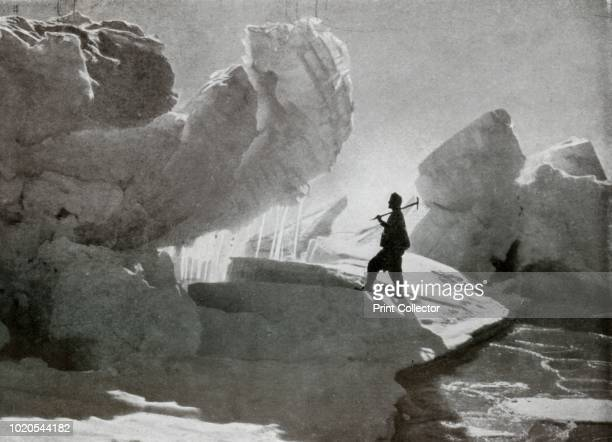 Pressure Ice Blocks Near Discovery Bluff, Due to the Thrust of the Mackay Glacier Tongue on the Sea-Ice', circa 1911, . The final expedition of...