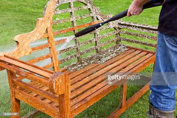 Pressure Washer Cleaning Garden Bench
