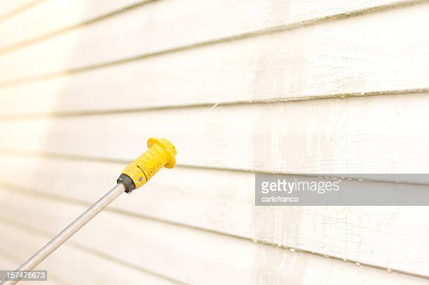 pressure washing the house side